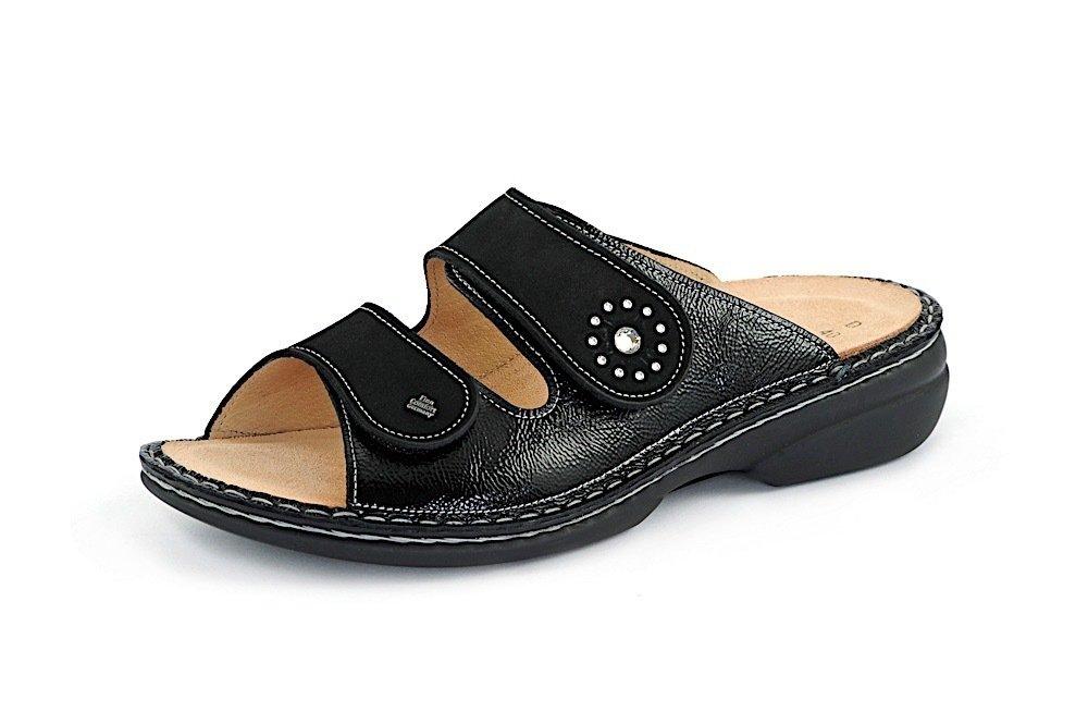 vorbestellen speziell für Schuh Tropfenverschiffen Finn Comfort handgenähte Pantolette BEVERLY-S schwarz SALE